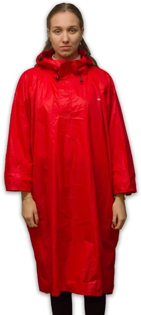 LOWLAND OUTDOOR Ponczo przeciwdeszczowe  wodoszczelne (słup wody 7000 mm) czerwony czerwony M