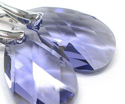 Kryształy kolczyki SREBRO TANZANIT OKAZJA
