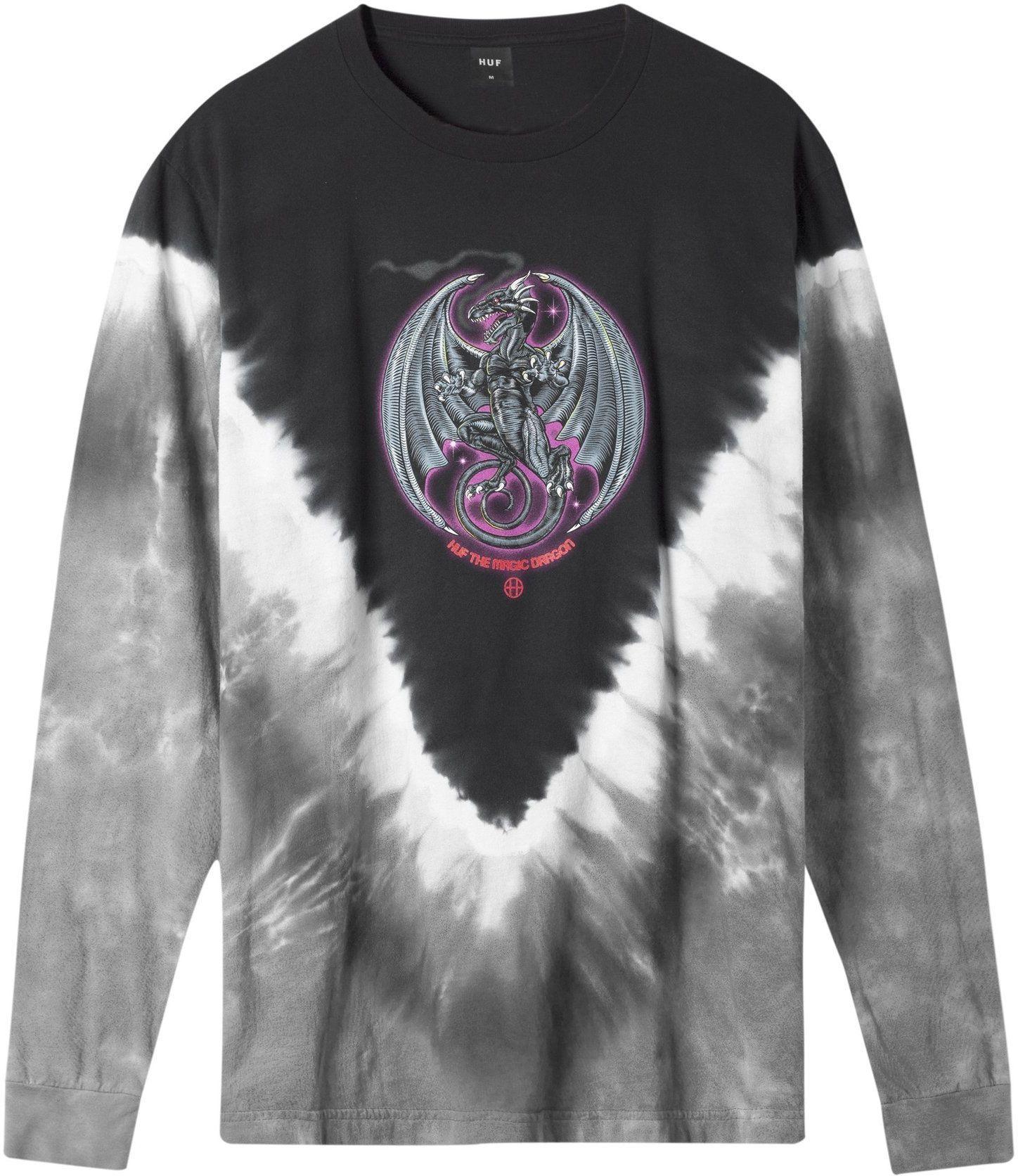 t-shirt męski HUF THE MAGICAL DRAGON LS TEE Black