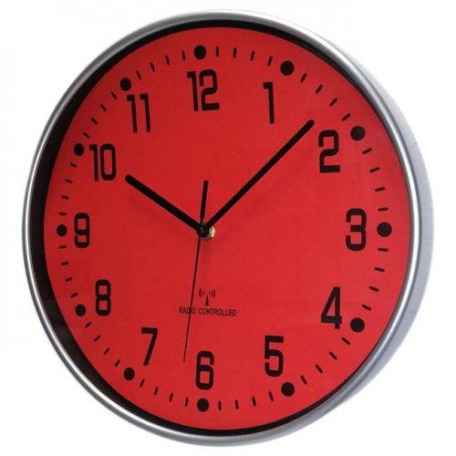 Zegar chromowany sterowany radiowo red