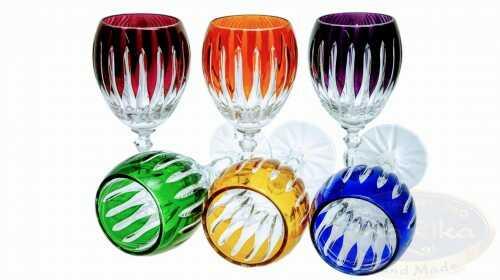 Kolorowe kryształowe kieliszki do likieru 60ml Linia 6 sztuk