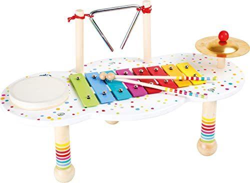 mała stopka 10385 stół muzyczny dźwięk wykonany z drewna, z małymi kolorowymi detalami, promuje muzykę, od 3 lat na