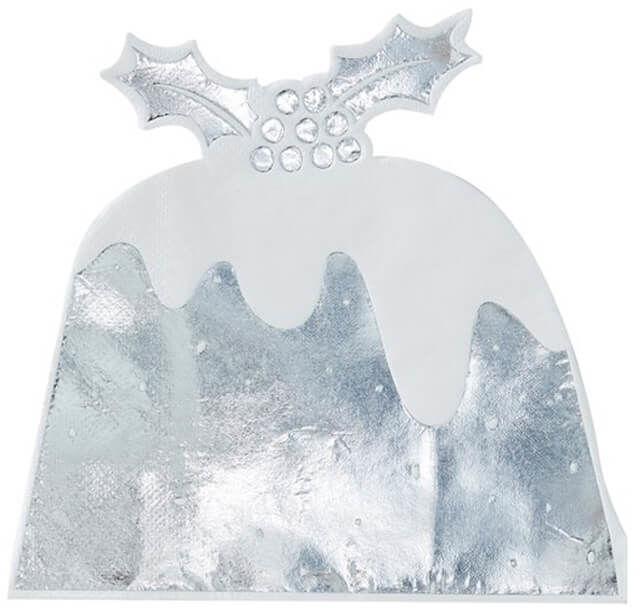 Serwetki bożonarodzeniowe Christmas Pudding srebrne - 27,5 cm - 12 szt.