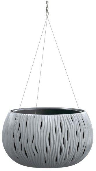 Doniczka z wkładem Sandy Bowl wisząca 37 cm szara