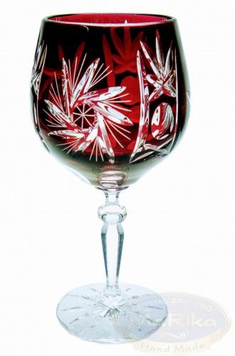 Rubinowe kryształowe kieliszki do wina 280ml Młynek Oliwka 6 sztuk