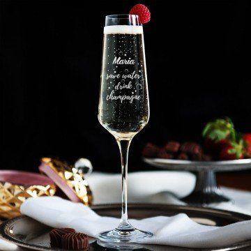 Save Water - Grawerowany Kieliszek do szampana