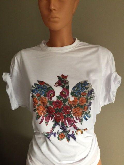 T-shirt Koszulka z orłem ORZEŁ ludowy kwiaty patriotyczna FOLK