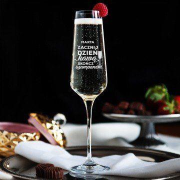 Zacznij dzień kawą skończ z szampanem - Grawerowany Kieliszek do szampana