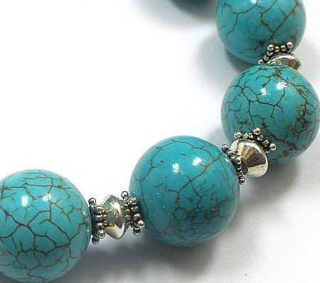 Piękna turkusowa bransoletka SREBRO