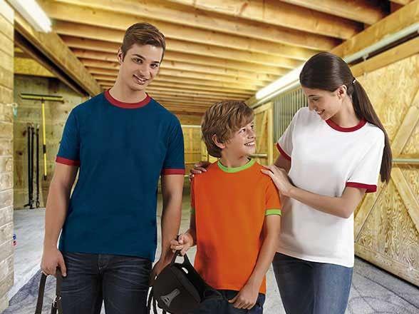 T-shirt koszulka dwukolorowa bawełniana z krótkim rękawem COMBI VALENTO