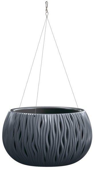 Doniczka z wkładem Sandy Bowl wisząca 37 cm antracyt