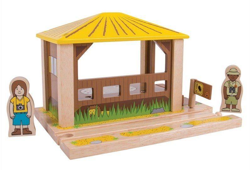 Punkt widokowy, przystanek do kolejki drewnianej, BJT276-Bigjigs Rail, kolejki dla dzieci