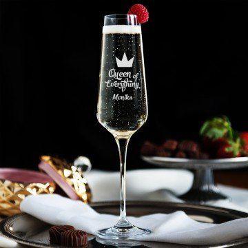 Queen of everything - Grawerowany Kieliszek do szampana