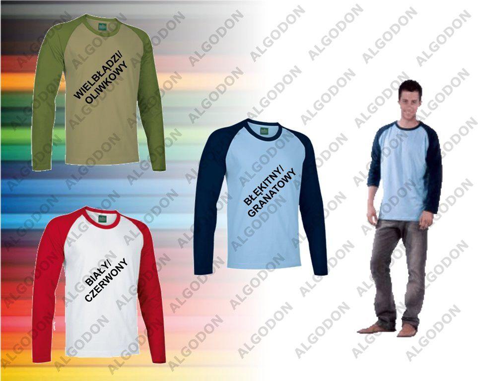 T-shirt koszulka długi rękaw dwukolorowy XS-2XL BREAK VALENTO