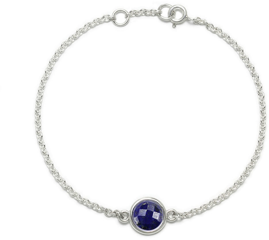Kuźnia Srebra - Bransoletka srebrna, 17/18cm, Lapis Lazuli, 2g, model