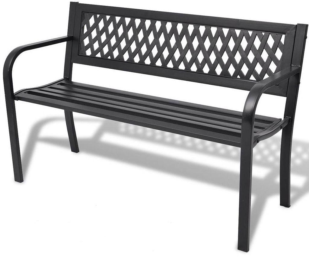 Metalowa ławka ogrodowa Cald - czarna