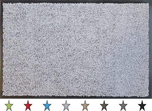 """oKu-Tex Wycieraczka mata zatrzymująca brud """"Eco-Clean"""" srebrna/szara guma z recyklingu do wnętrz wejście / drzwi wejściowe / klatka schodowa / korytarz antypoślizgowa 60 x 90 cm"""