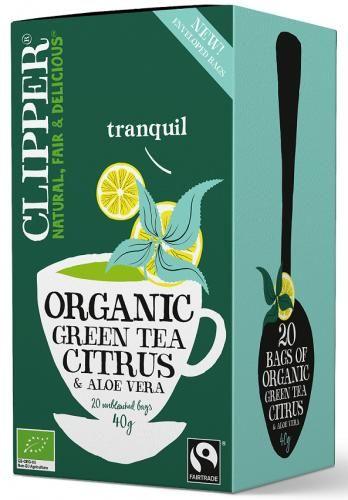 Herbata zielona z cytryną i aloesem FAIR TRADE BIO 40 g (20 x 2 g) Clipper