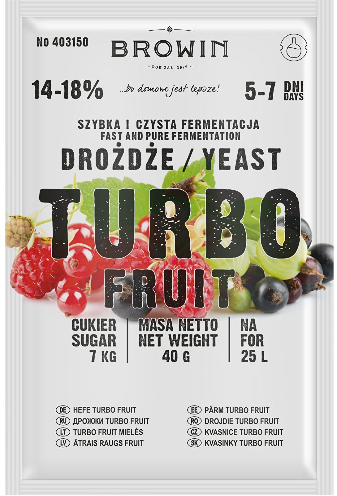 Drożdże winiarskie TURBO Fruit 5-7 dni