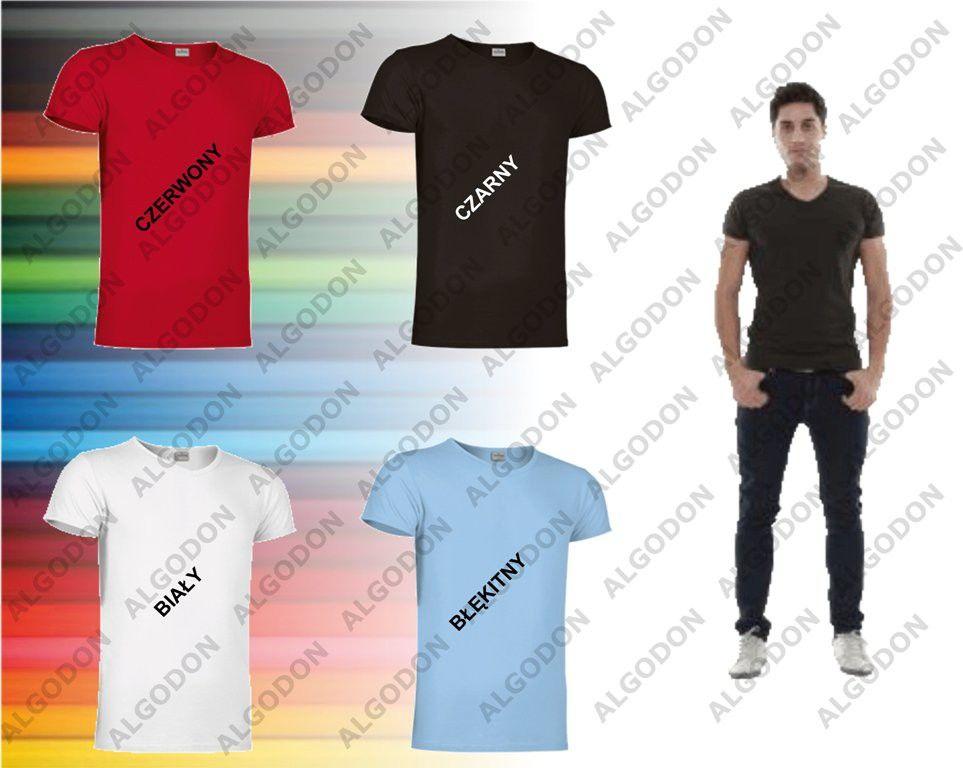 T-shirt krótki rękaw koszulka męska z elastanem v-neck S-2XL COBRA VALENTO