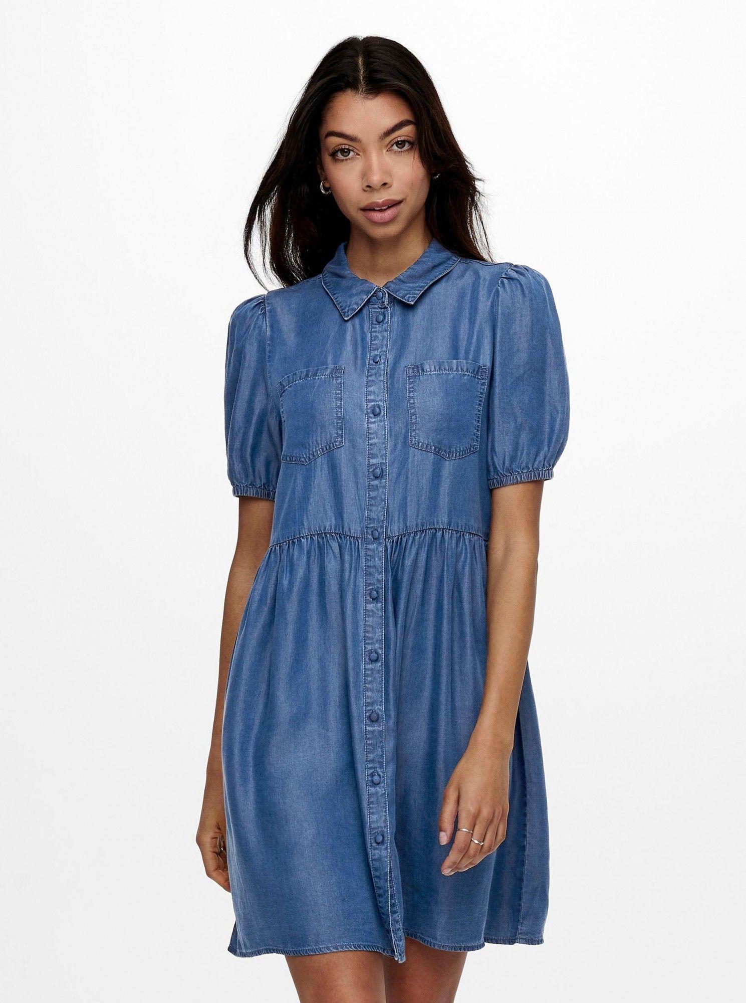 Only niebieski koszulowa dżinsowa sukienka Ulrika