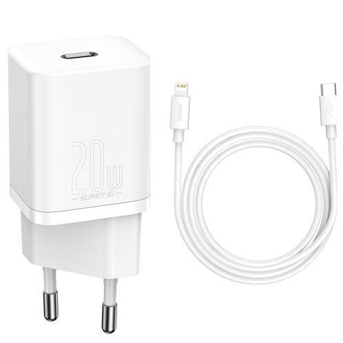 Ładowarka sieciowa Baseus Super Si USB-C 20W + kabel Lightning, biała