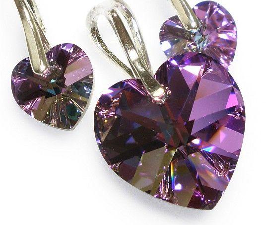 PROMOCJA Kryształy piękny komplet SREBRO serca