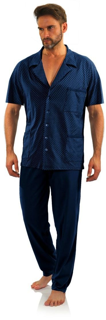 Bawełniana rozpinana piżama męska z krótkim rękawem Sesto Sesto