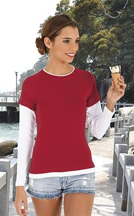 T-shirt, koszulka z długi rękawem dwukolorowa BEACH