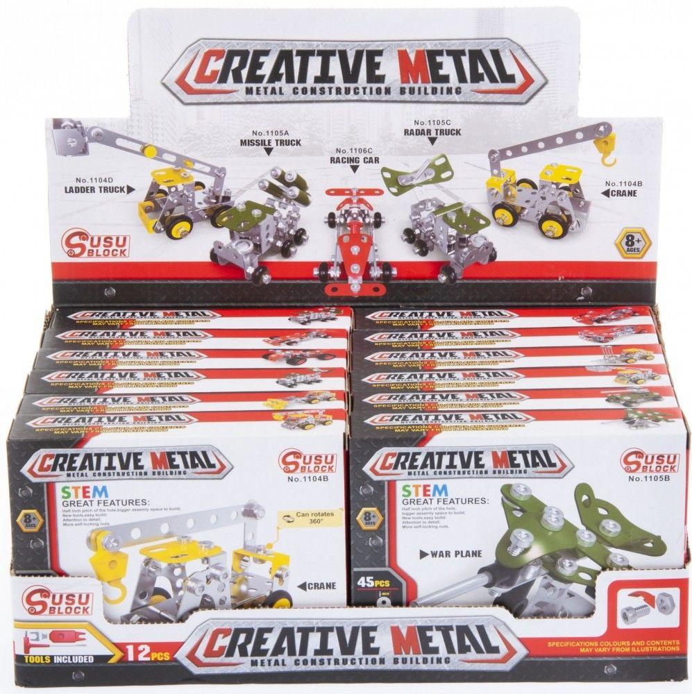 Klocki konstrukcyjne metalowe 45-123 elementy MEGA CREATIVE 463055