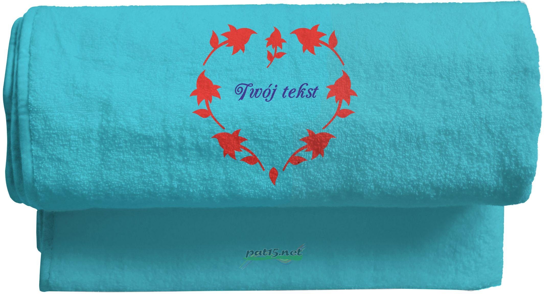 Duży Ręcznik 140x70 z haftem + tekst - Wzór 09