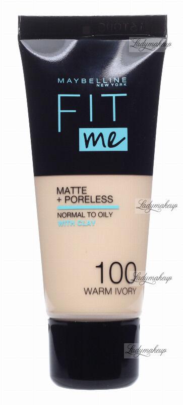 MAYBELLINE - FIT ME! Liquid Foundation For Normal To Oily Skin With Clay - Podkład matujący do twarzy z glinką - 100 WARM IVORY