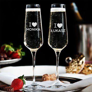 I Love - Dwa Grawerowane Kieliszki do szampana