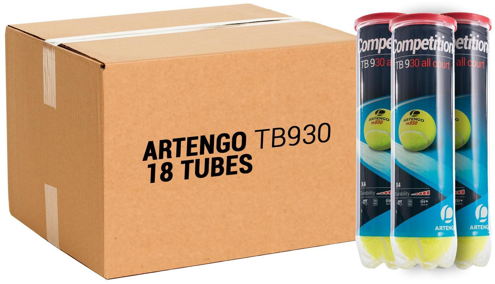 Piłka tenisowa Artengo TB930 18 puszek po 4 piłki