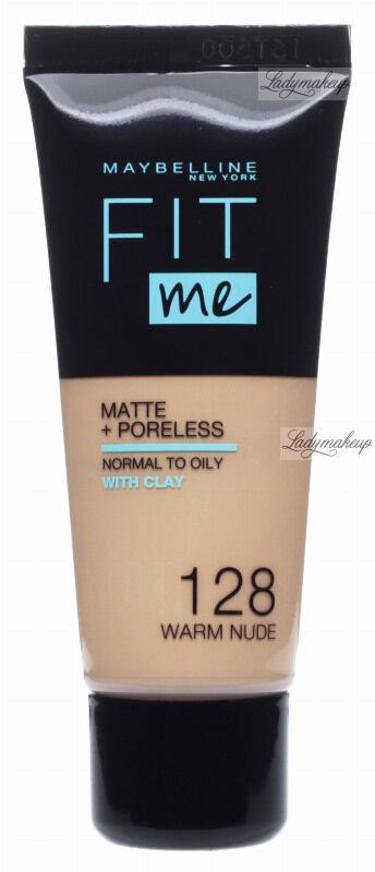 MAYBELLINE - FIT ME! Liquid Foundation For Normal To Oily Skin With Clay - Podkład matujący do twarzy z glinką - 128 WARM NUDE