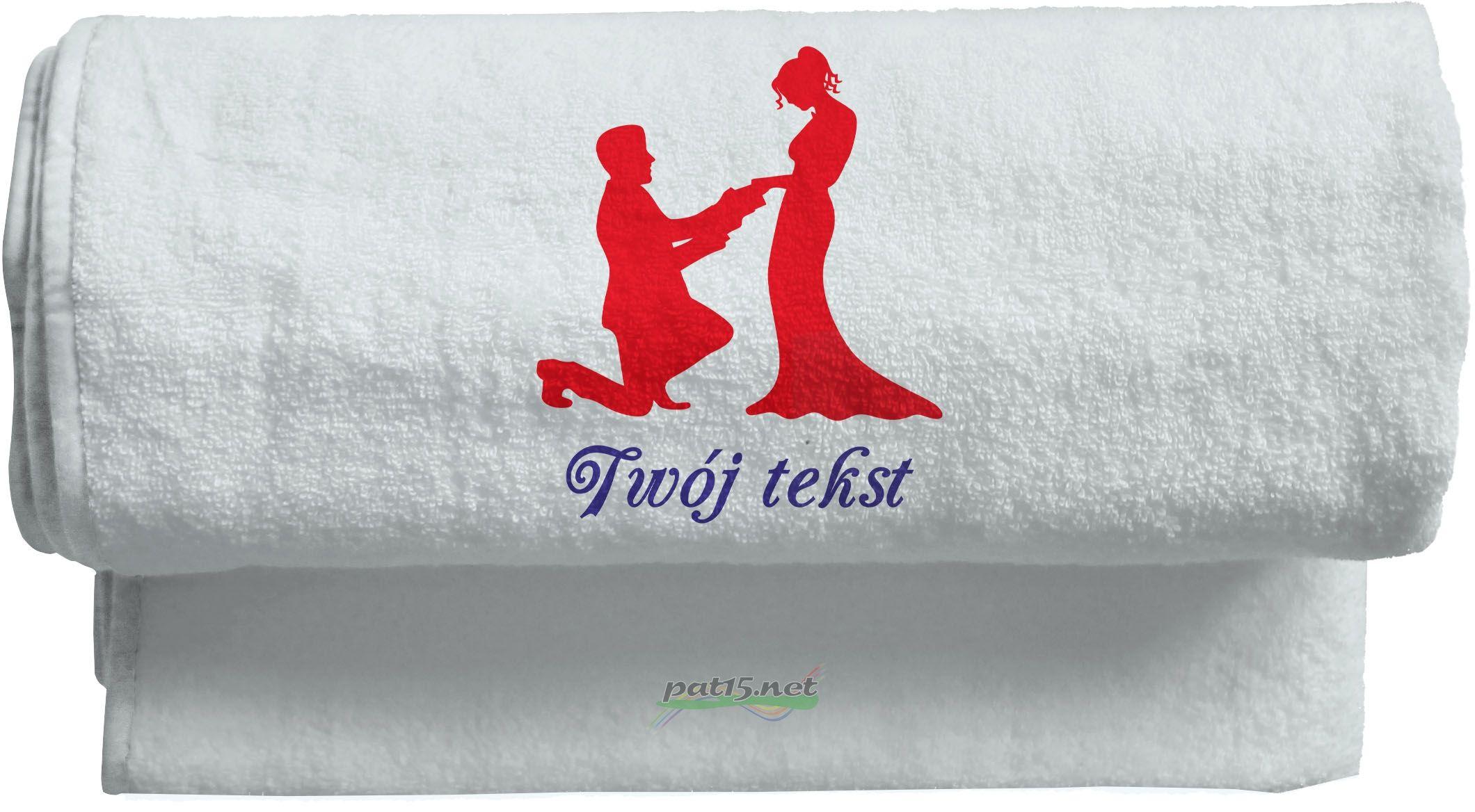 Duży Ręcznik 140x70 z haftem - Ślub Wzór 02