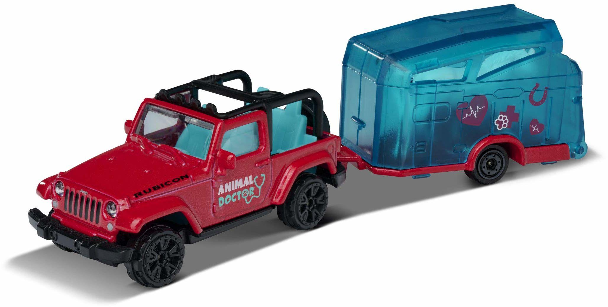 Majorette Pink Drivez Jeep Wrangler z przyczepą dla koni, samochód zabawkowy, wolny bieg, części do otwierania i/lub ruchome, 13 cm, różowy, dla chłopców i dziewczynek od 3 lat