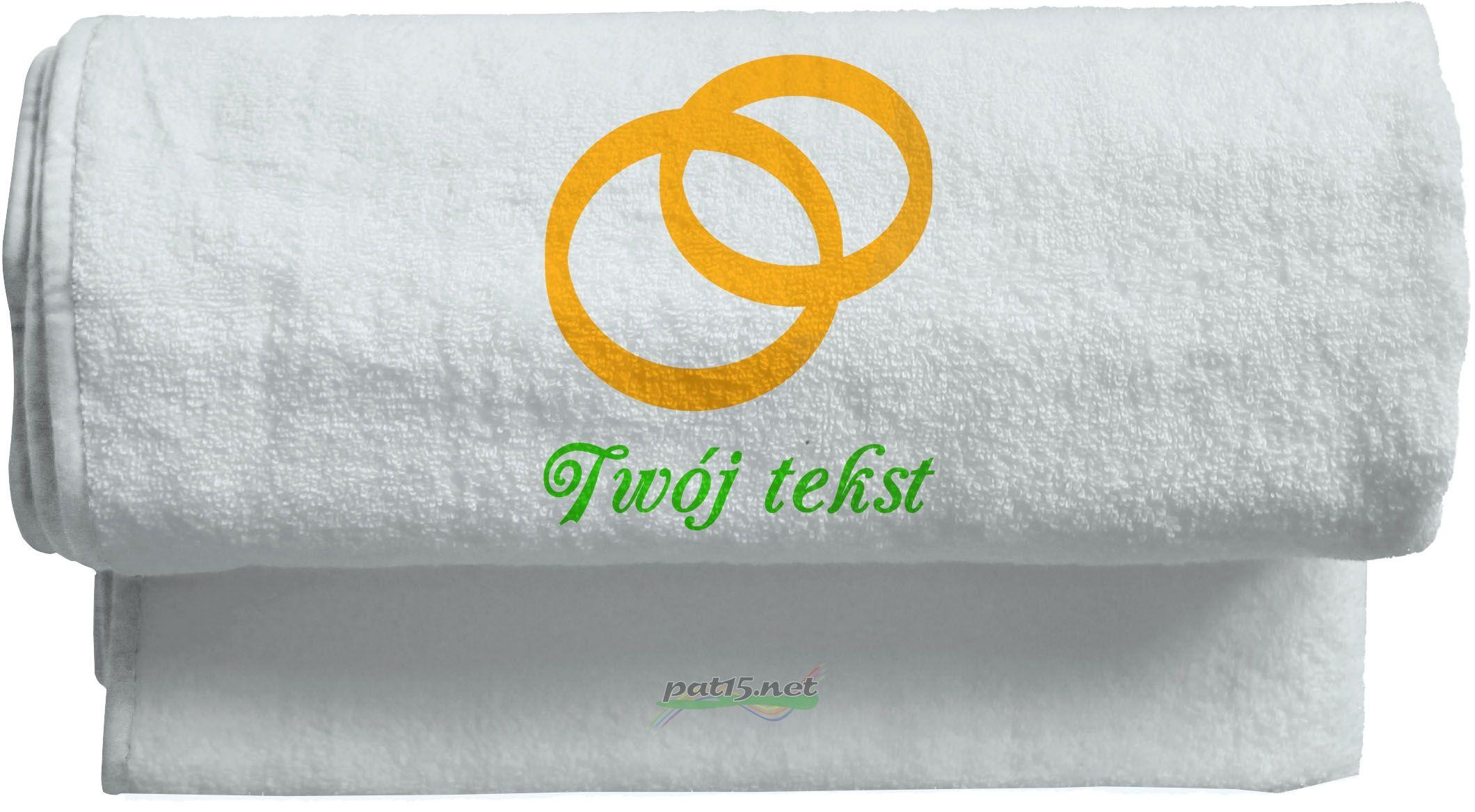Duży Ręcznik 140x70 z haftem - Ślub Wzór 03