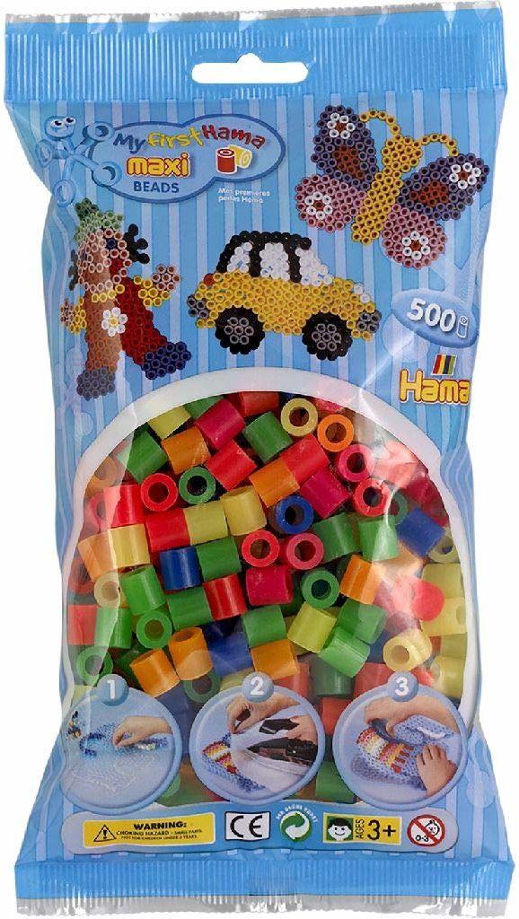 Hama 8472  koraliki do prasowania Maxi, ok. 500 sztuk w różnych kolorach neonowych