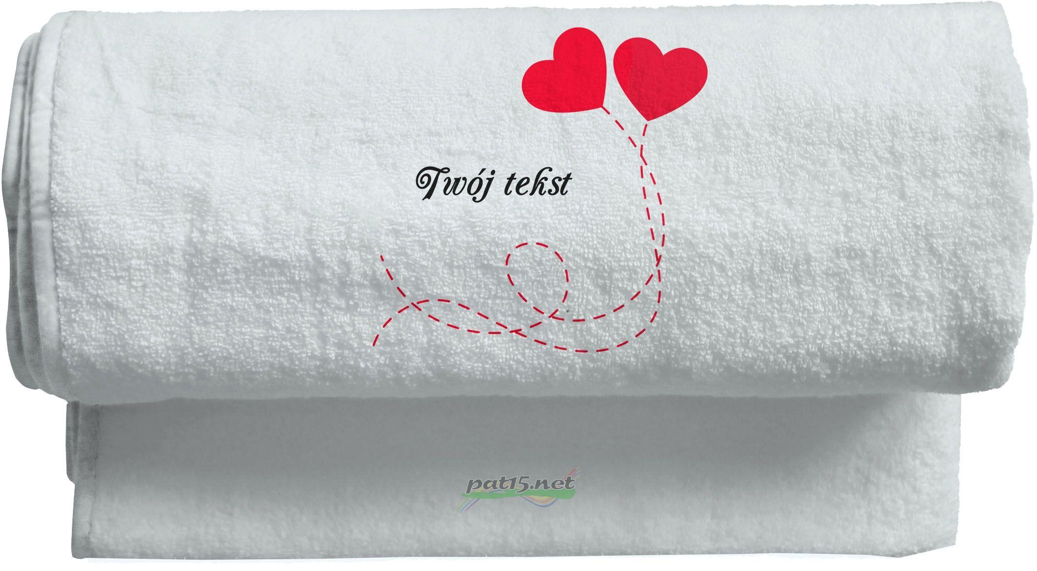 Duży Ręcznik 140x70 z haftem - Serce Wzór 02