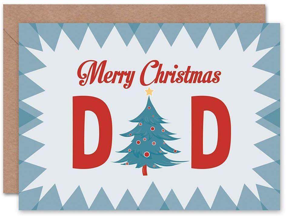 """Wee Blue Coo Kartka bożonarodzeniowa """"Merry Dad"""" z motywem drzewa, prezent"""