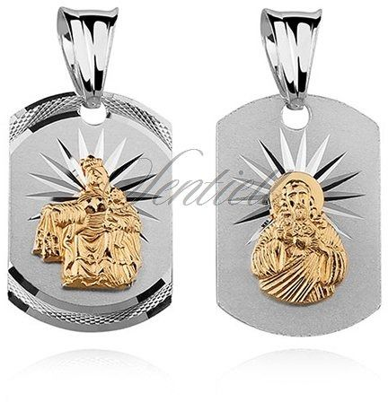 Srebrny medalik jezus / matka boska szkaplerzna dwustronny pozłacane postacie
