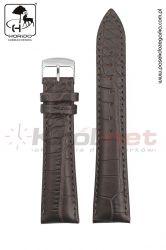 Pasek Horido H9612/02/22 - brązowy, faktura krokodyla, matowy.