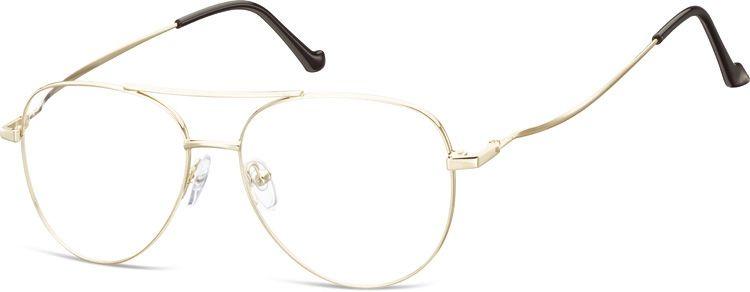 Okulary oprawki Pilotki zerówki metalowe korekcyjne 932E złote