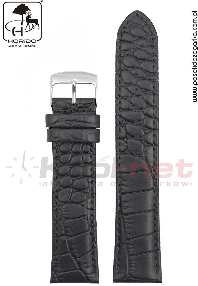 Pasek Horido H0180L/01/22 - czarny, faktura krokodyla, matowy, long