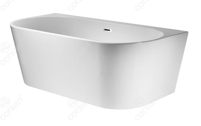 Corsan Mono wanna wolnostojąca przyścienna 150x75 cm biała + syfon klik-klak E-030M