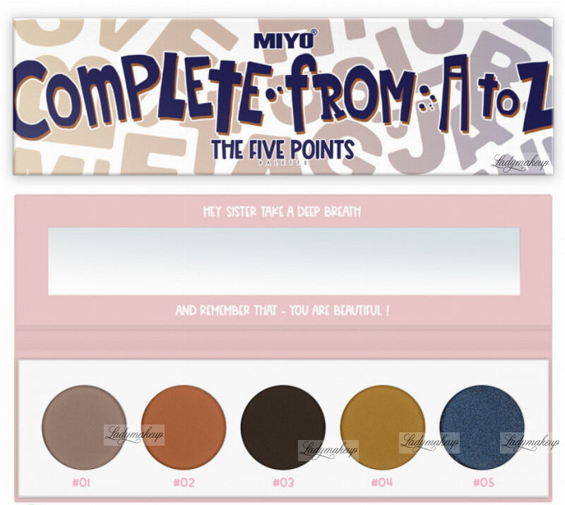 MIYO - FIVE POINTS - COLOR BOX EDITION - Paleta 5 cieni do powiek - 23 - COMPLETE FROM A TO Z