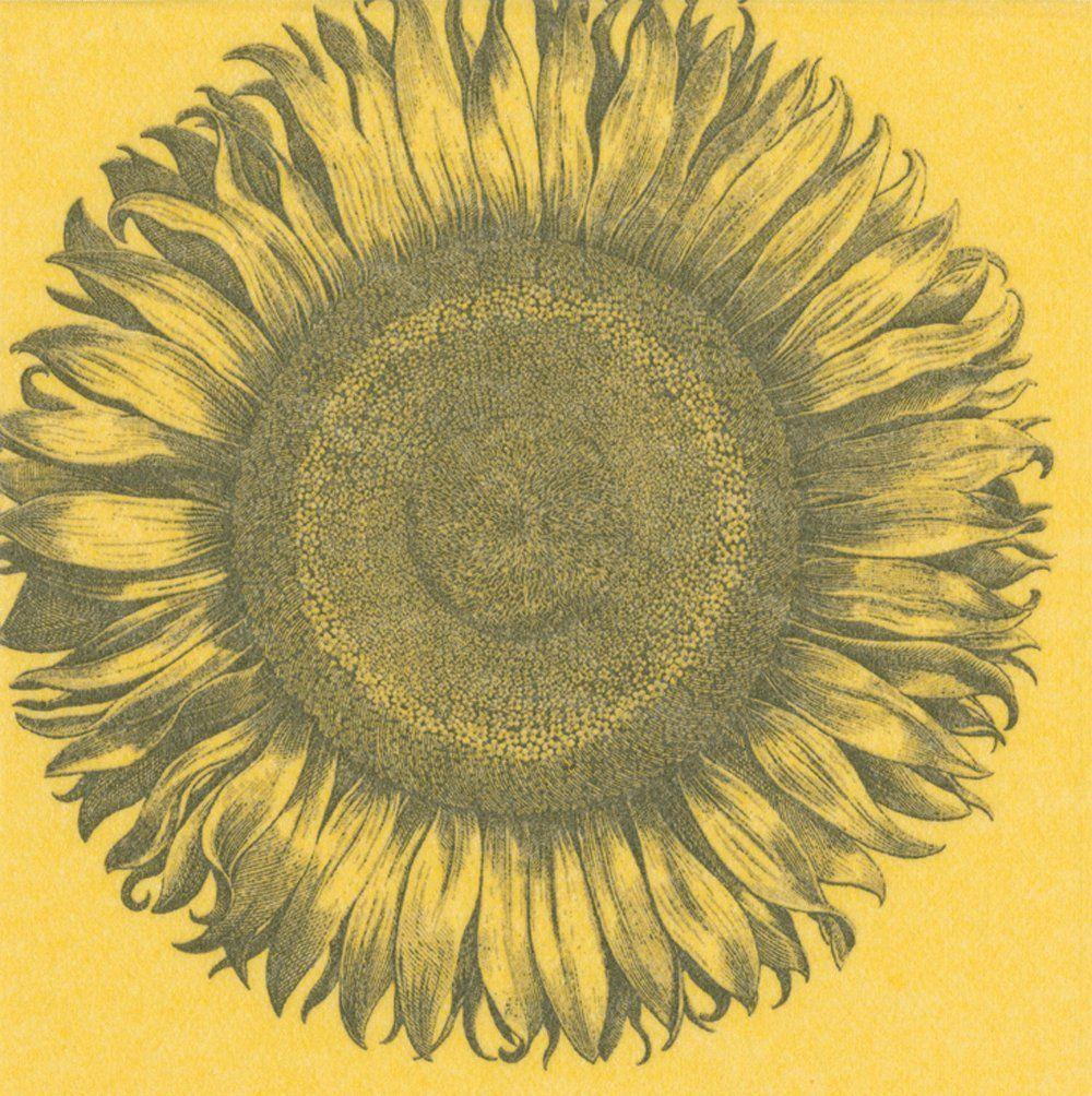 Entertaining with Caspari papier lniany wygrawerowany słonecznik serwetka koktajlowa, opakowanie 15 sztuk, żółte, 12,7 x 12,7 x 3 cm