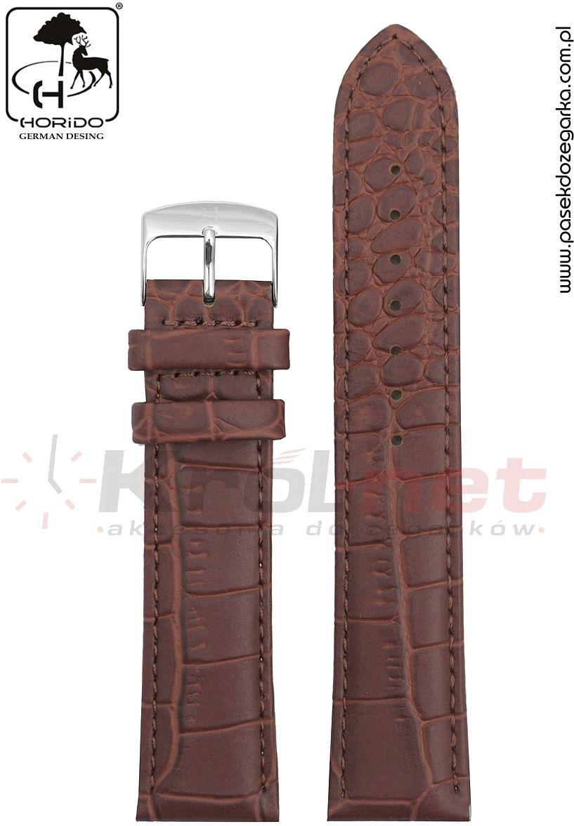 Pasek Horido H0180L/02/22 - brązowy, faktura krokodyla, matowy, long