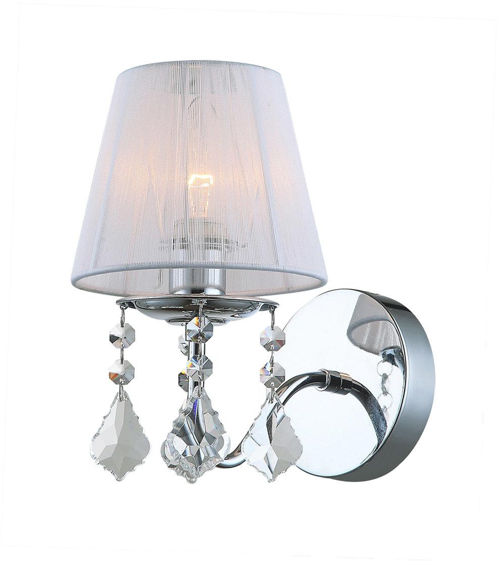 Italux kinkiet lampa ścienna Cornelia MBM-2572/1 W chrom biały abażur kryształki